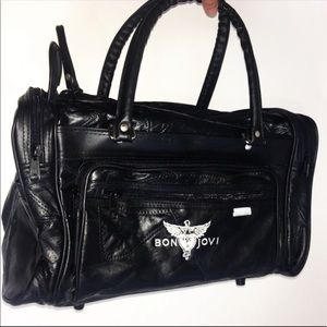 Bon jovi tour bag black genuine Leather travel bag